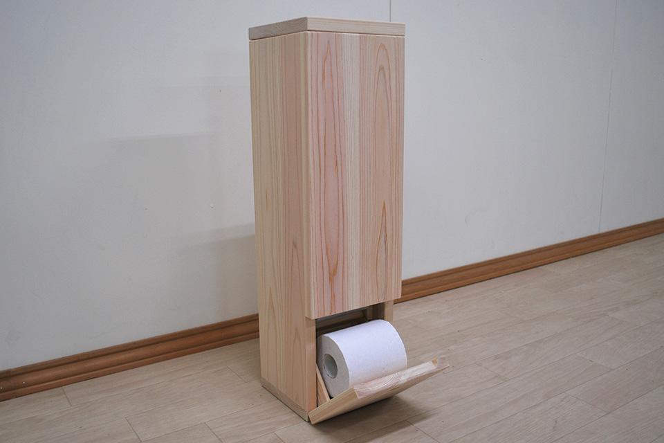 トイレに温かみある ひのきトイレットペーパーストッカー NO2005018