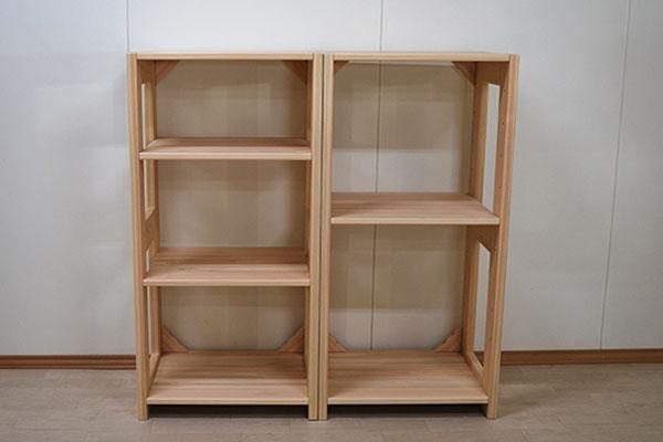隙間埋めサイズに製作可能 収納ラック 幅60cm高さ117.5×2 1911010