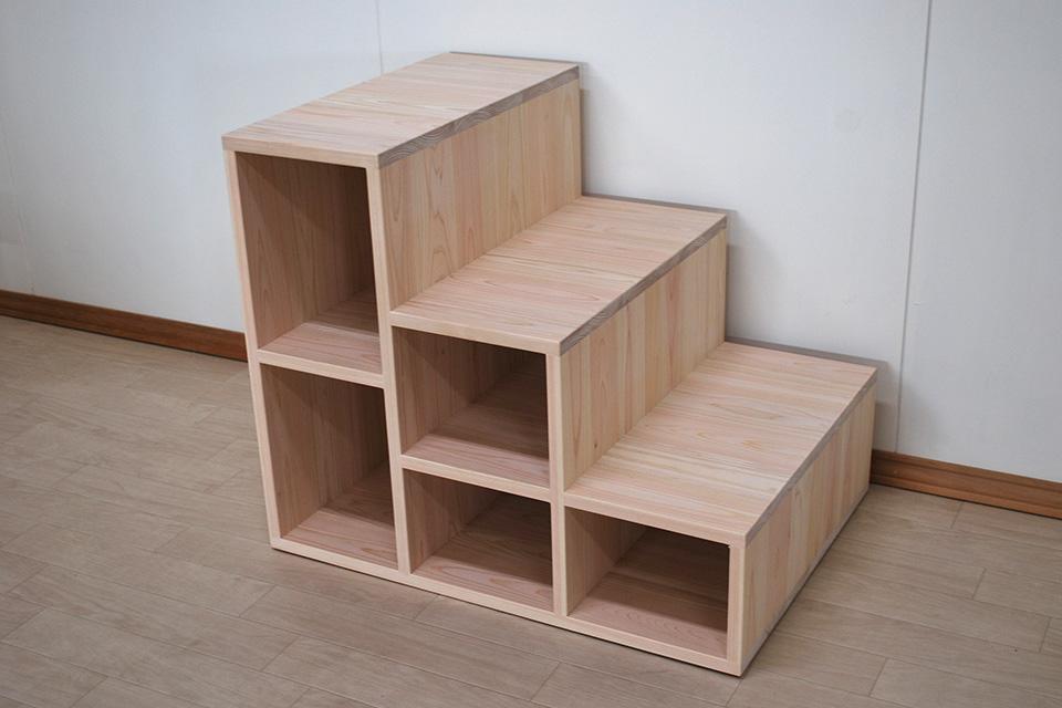 幅55cmの広々とした階段3段 小上がり用階段 2008053