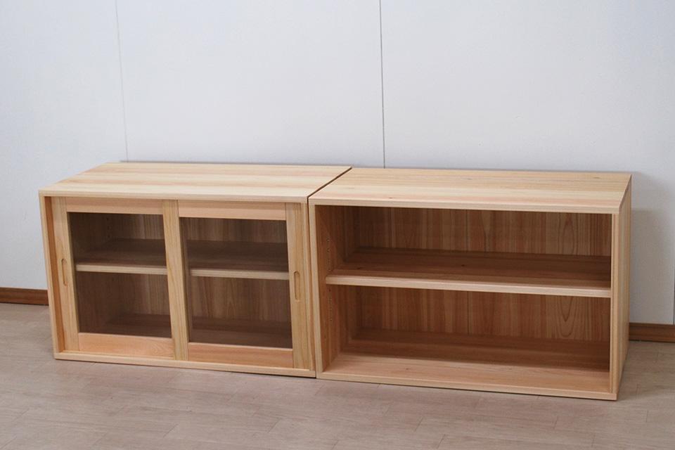 カラーボックスの横置き 棚板可動式にしガラス戸付きに 2011016