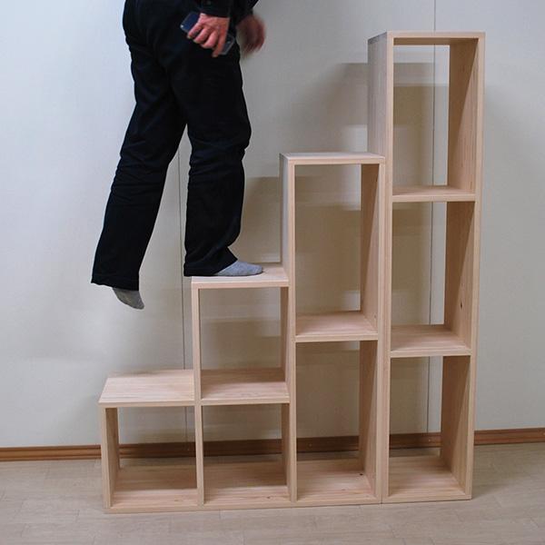 ひのき階段4段 一段の高さが37.5cm高さ150cmの階段 2012005