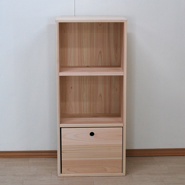 幅45cm3段カラーボックスに収納ボックス丸穴付き(管理番号2101052)