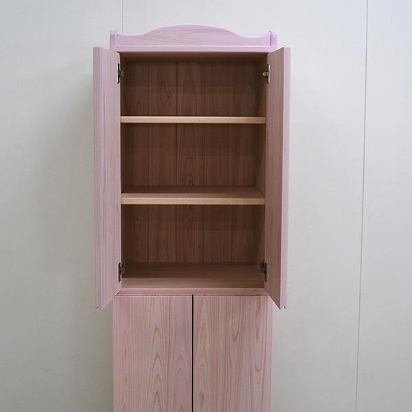高さ156cmの扉付き収納棚 幅50cm ピンク色に着色 2102042