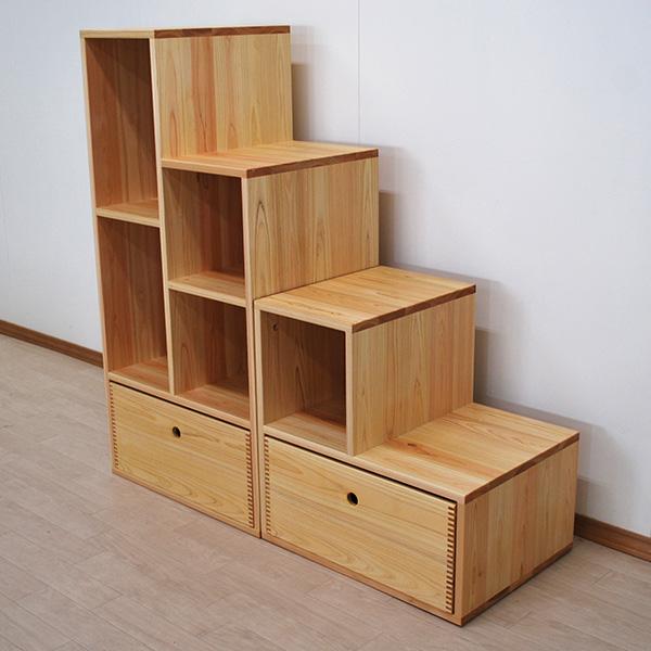 収納BOX付き背板付き階段ボックス 重ねて棚になる 2012008