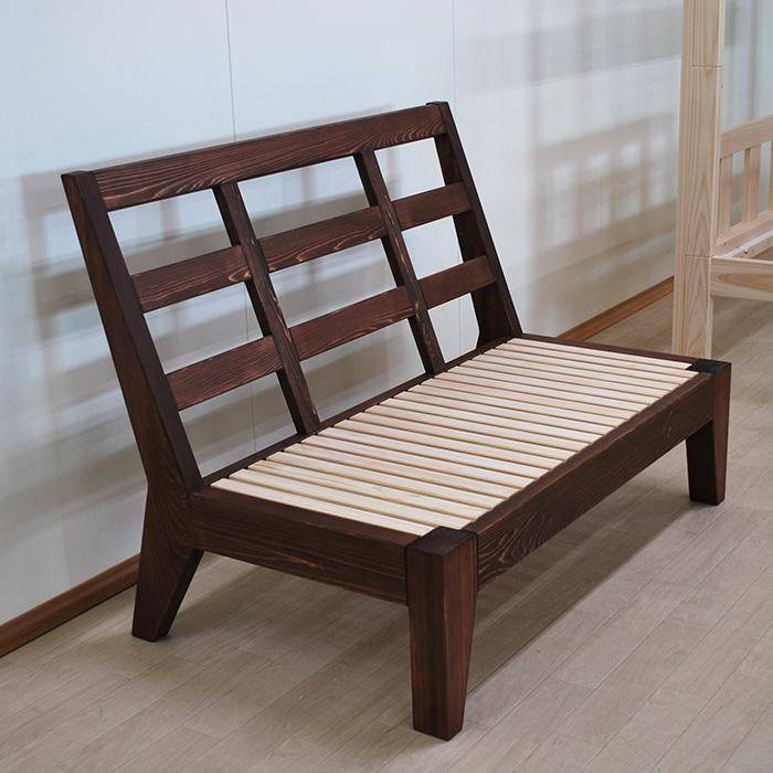 木製無垢ひのき背傾斜ソファー 幅120cm 着色仕上げ 2103055