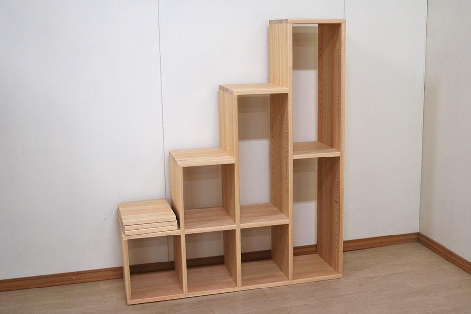 ひのき登れる階段収納 可動棚板3枚付き 2102