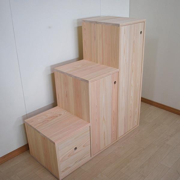 ひのき階段3段 扉・収納BOX1個付き 2105040